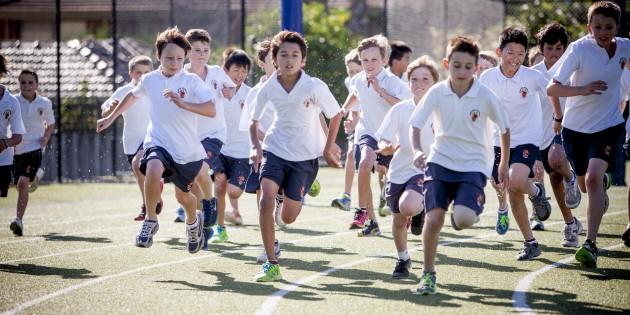 Brighton Grammar Boys running on the junior school oval