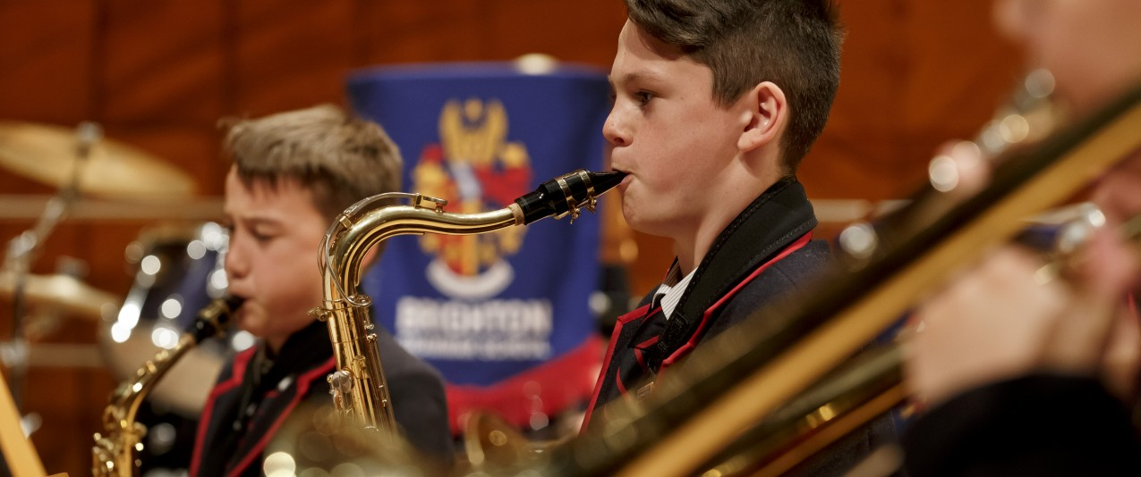 Brighton Grammar brass players at 'A celebration of music' concert at the World-Class Melbourne Recital Centre