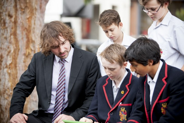 Head of Year 8, Anthony Keane talks to Brighton Grammar Middle School Students