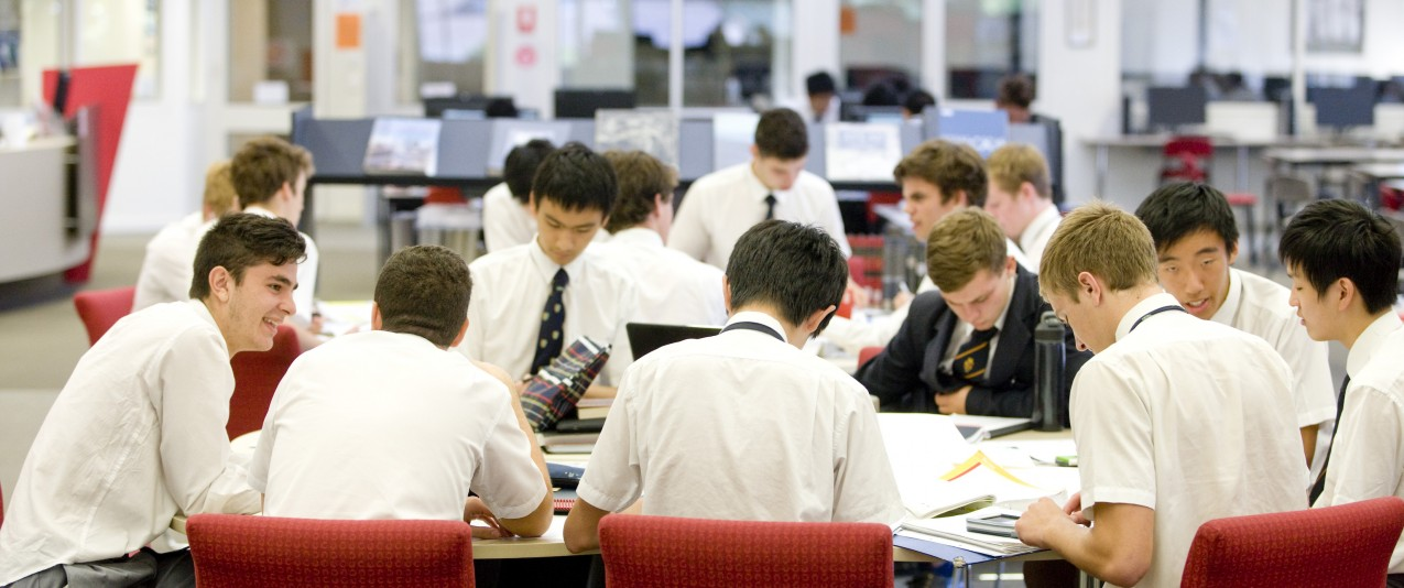 Leading melbourne private school boys study in library
