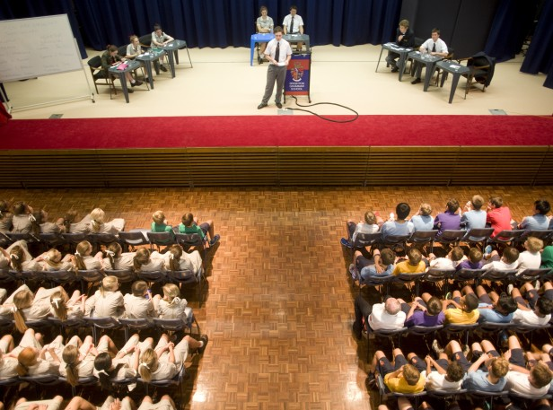 Year 12 Boys do exhibition debate for Year 7s at top Melbourne boys school, Brighton Grammar