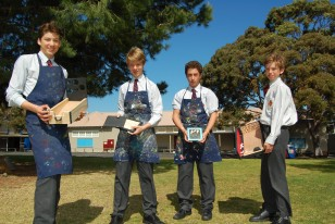 Brighton Grammar Boys with handcrafted toys